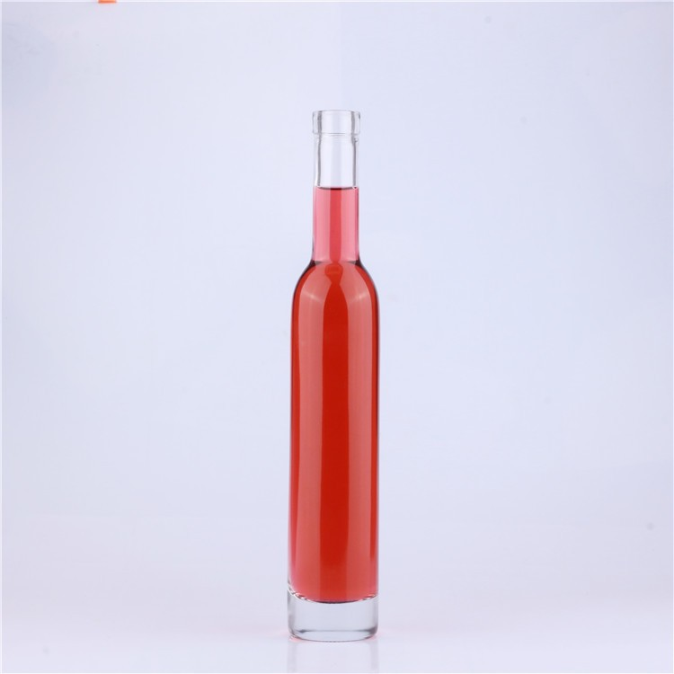 Empty Clear Ice Wine 375 ml Glass Bottle with Cork Stoppers