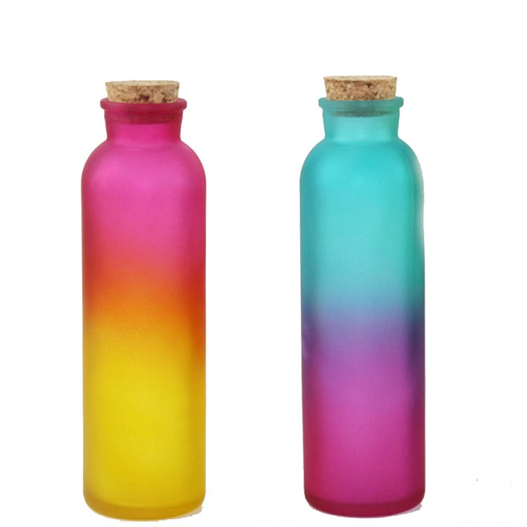 350 ml Round Gradient Colored Frost Beverage Drinks Glass Bottle with Cork