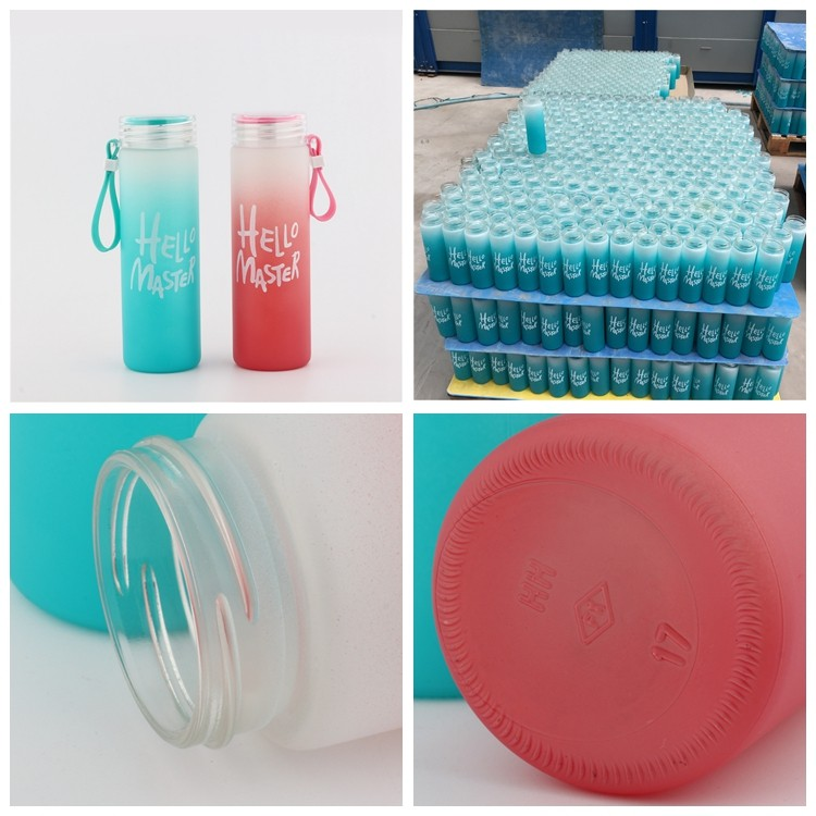 FDA Custom Print Logo Color Frosted 400ml Glass Bottle for Water with Plastic Cap