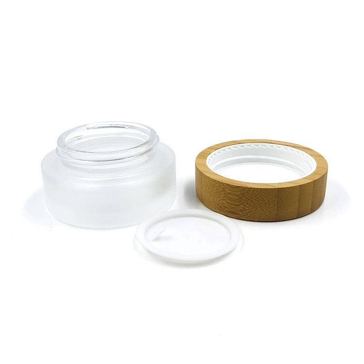 Environmental 1oz 30ml frosted clear glass cosmetic packaging jar with bamboo lid