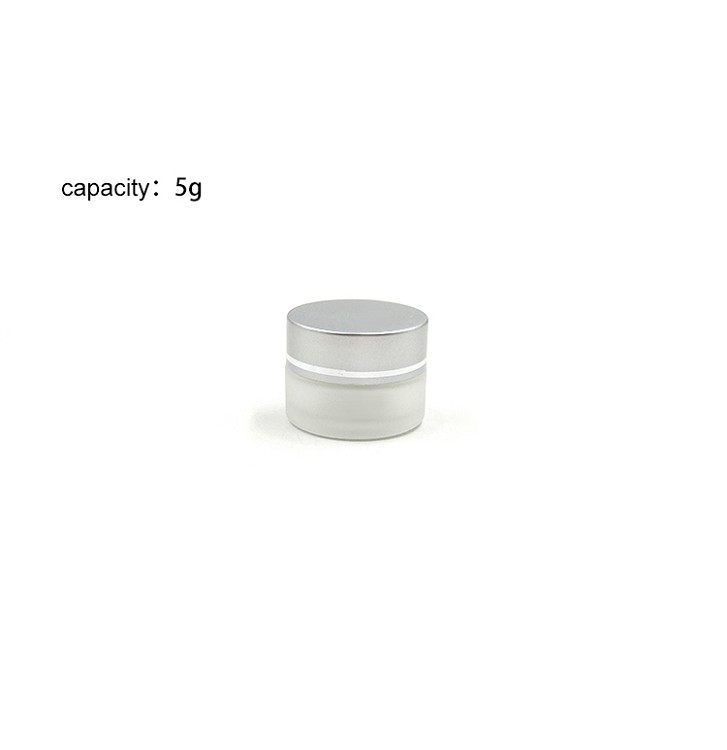 Pocket size 5g frosted white glass eye cream jar container for sample use