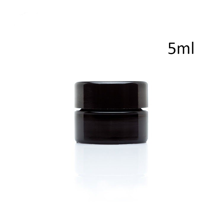 Palm Size 5 ml black round straight sided glass screw top Jar with lid
