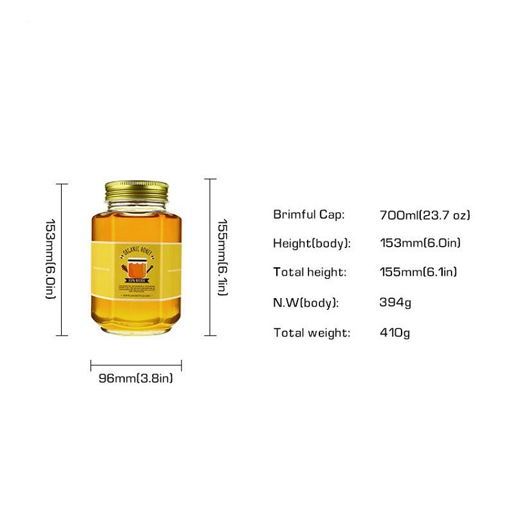 700ml 400ml 1kg 1lb 500g empty glass hexagon jar with decorative lid for honey