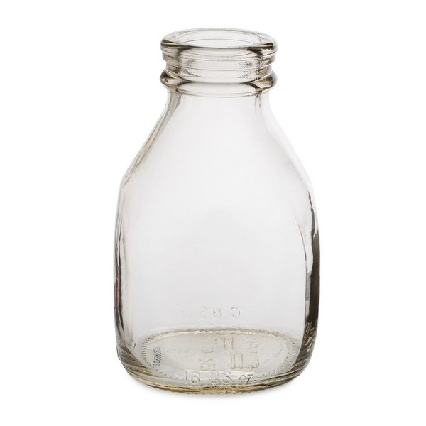 16 oz Clear Glass Short Milk Bottles With White Tamper-Evident Snap Lid