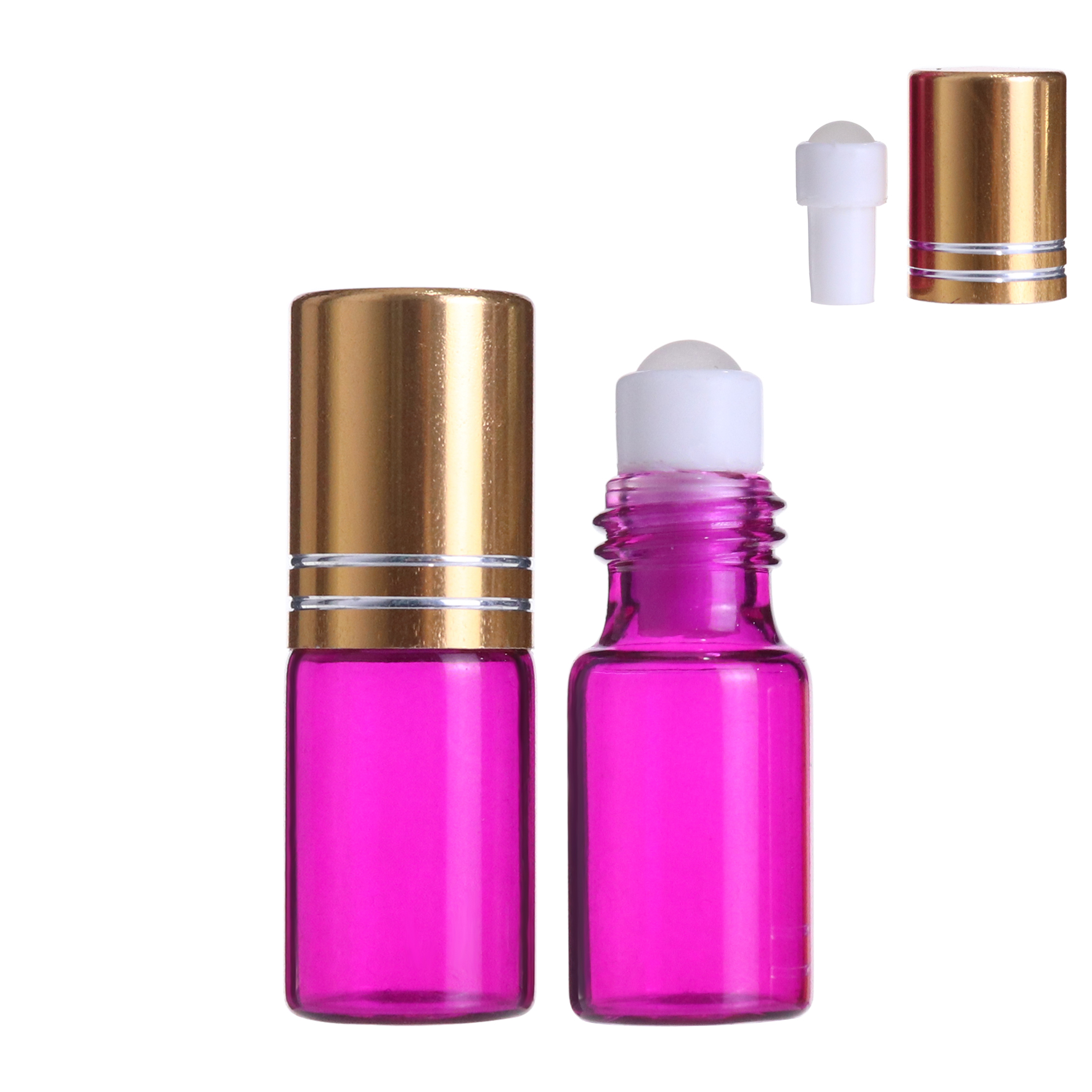 Pink Essential Oil Roller glass ball Bottles 3ml Aromatherapy Glass Roll on perfume Bottle with gold cap