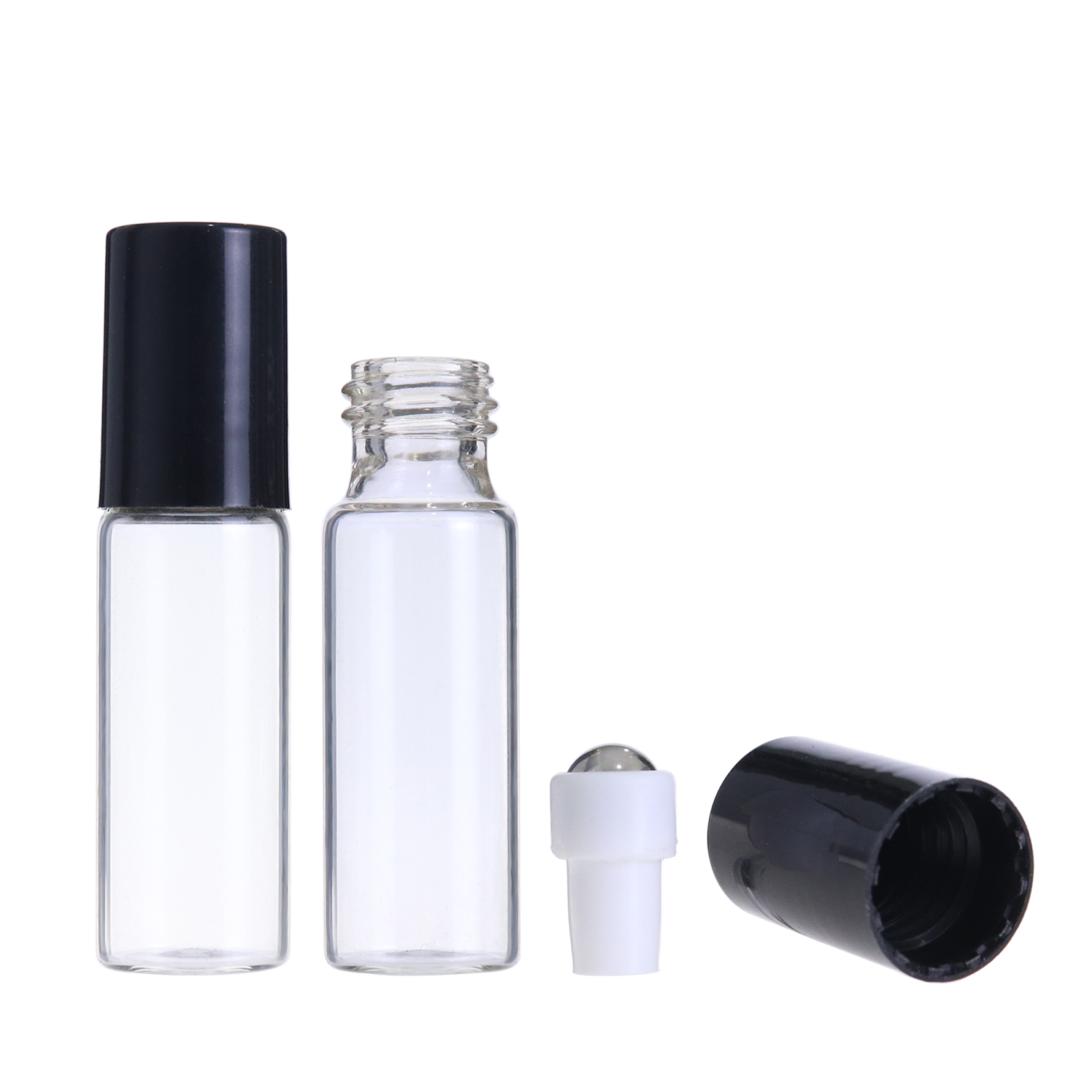 5ml amber clear roll on perfume essential oil bottles with roller ball