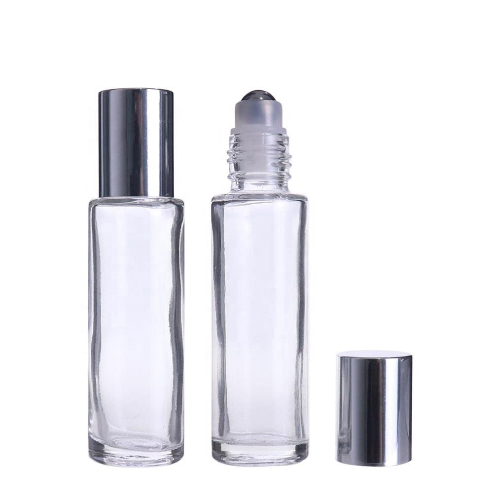 High Quality 15ml Empty Clear Essential Oil Perfume Roll on Glass Roller Bottle with Steel Roller Ball