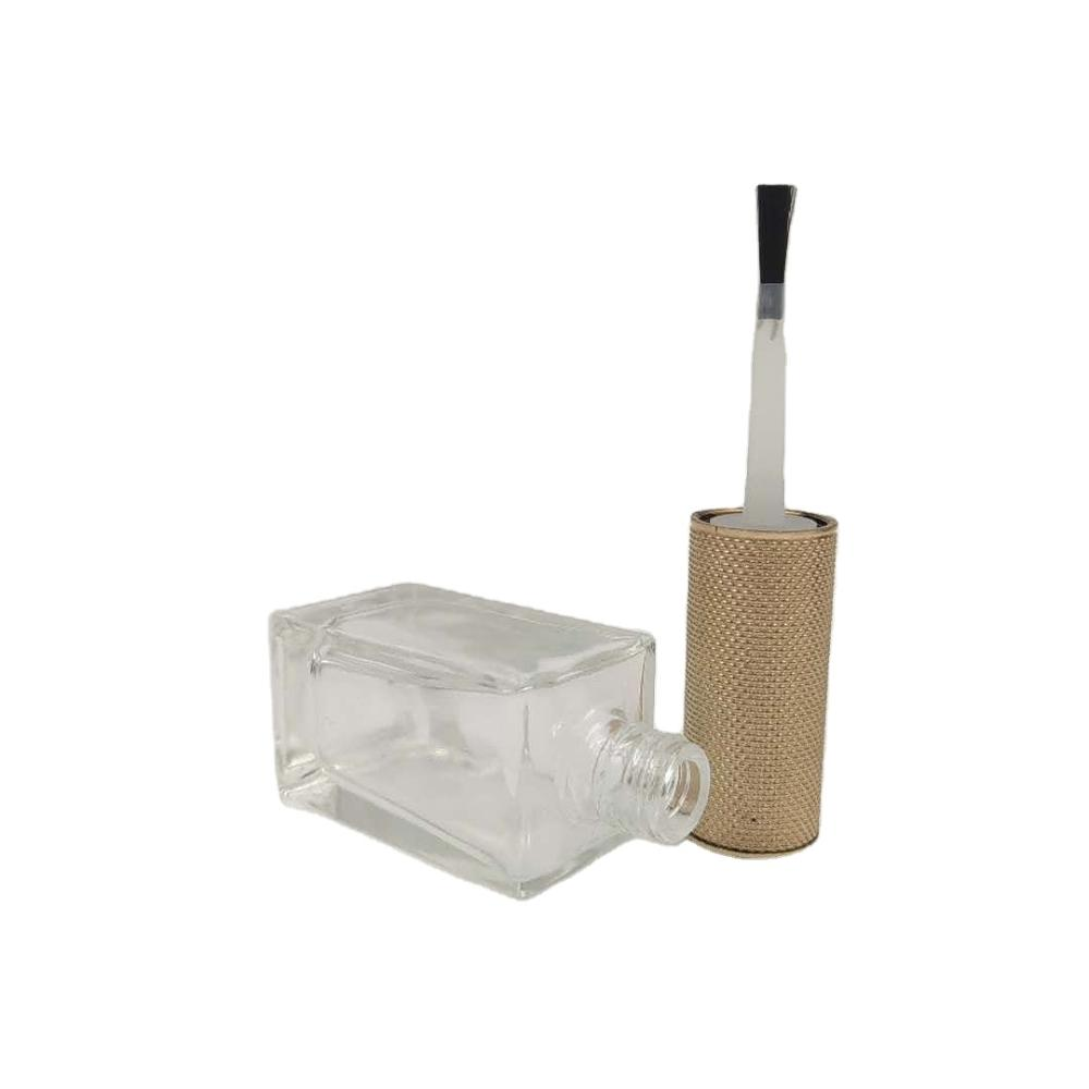 unique design high quality 15ml clear glass square nail polish bottle with brush
