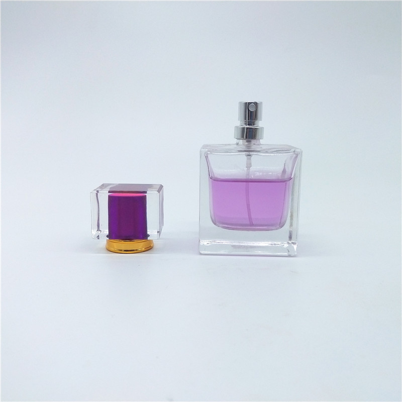 2020 new inventions 50ml clear rectangle glass perfume bottle with spray