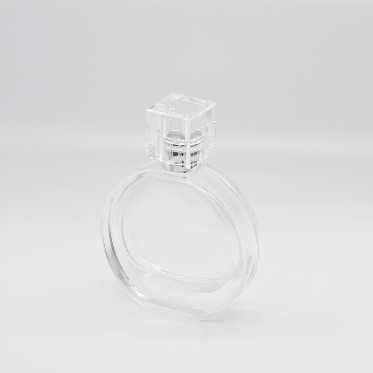Simple design round 40ml ladies clear crystal glass perfume bottle for sale