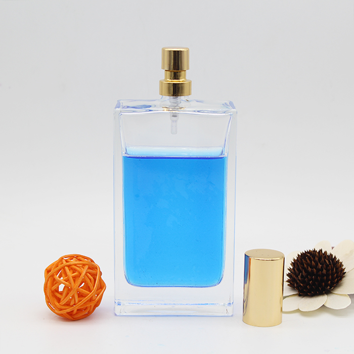 Customized Design empty flat Square Glass Perfume Bottle 100ml