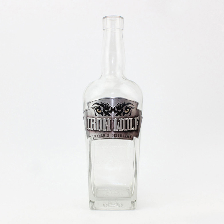High-end high quality 750ml clear glass bottle wine glass bottle support customized