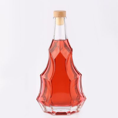 Custom Clear Glass Brandy Red Wine Whisky Bottle Glass 500 ml with Cork Cap
