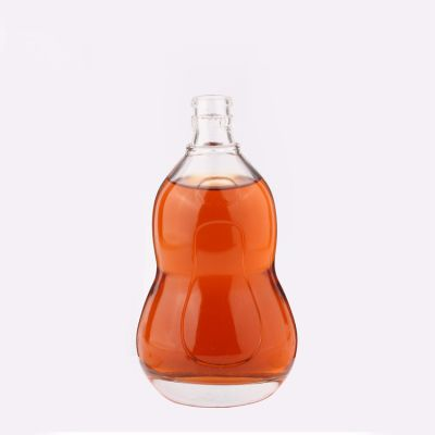 Custom Gourd Shape 500ml Wine Glass Bottle with Screw Stopper for Whisky Brandy Liquor