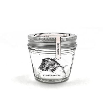 Reusable 100ml wide mouth oval glass jar for canning, caviar