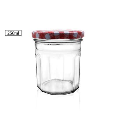 Wholesale fancy 250ml glass dodecagon food storage jar for honey /jam /pickle/candy/tea/food/spice