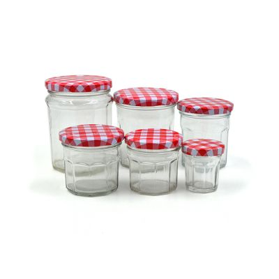 50ml-380ml clear octagon jam glass bottles with lid for jam, honey, wedding favors