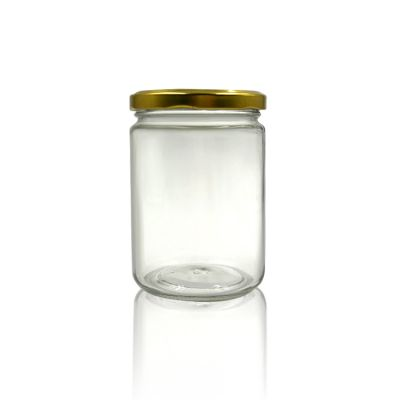 wholesale empty 500ml glass jar with gold metal lid for food, honey,pickles storage