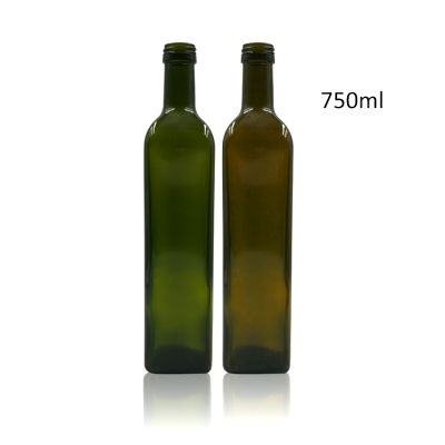 Square 750ml marasca glass bottle olive oil bottle glass with lid