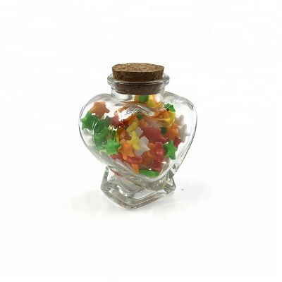 Pretty heart shape 80ml glass candy jar for wedding, christmas favor