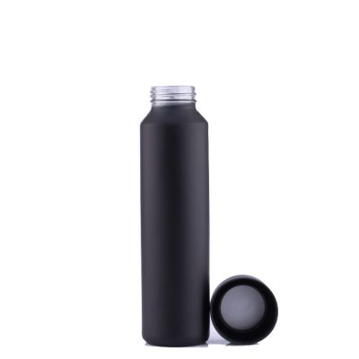 Custom 500ml Matte Black Water Glass Bottle with Plastic Cap