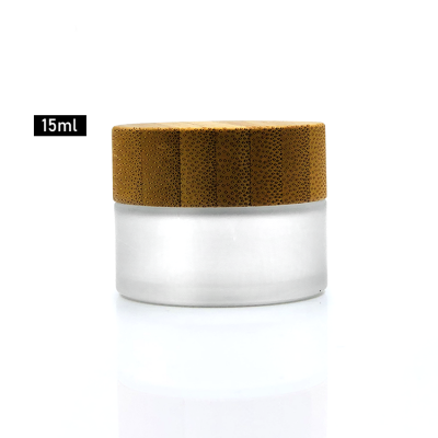 Airless 15ml frosted glass face cream jar with bamboo lid