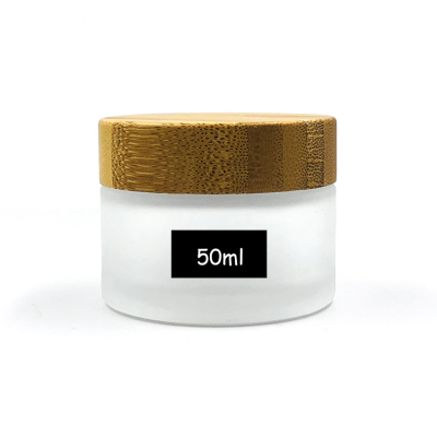 Airtight 50g glass frosted jar with bamboo lid for face cream, mask, skin care beauty products