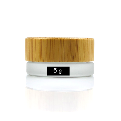 Empty 5g frosted clear glass cosmetic jar with natural bamboo lid