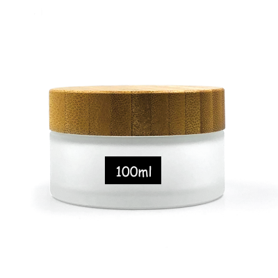Luxury 100ml eco friendly matte clear glass cosmetic bamboo lid jar