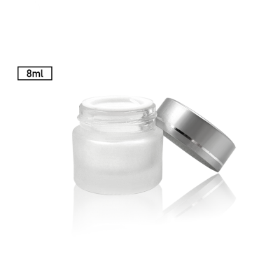 Travel size round 8g glass cosmetic jar with matte surface