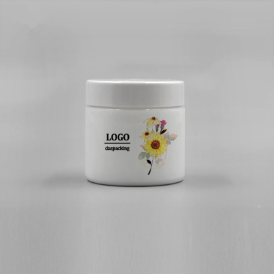 Custom printing logo and label luxury 80ml white opal round skin care face cosmetic porcelain jar glass with liner and lid