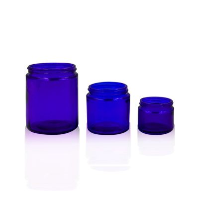Cobalt Blue 1oz, 2oz, 4oz Straight Sided Glass Eye Mask Cosmetic Jar