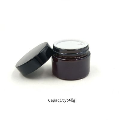 Recycled 40ml uv gel glass cosmetic jar with black screw lid