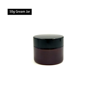 Wholesales 50ml amber glass jar with screw plastic lid