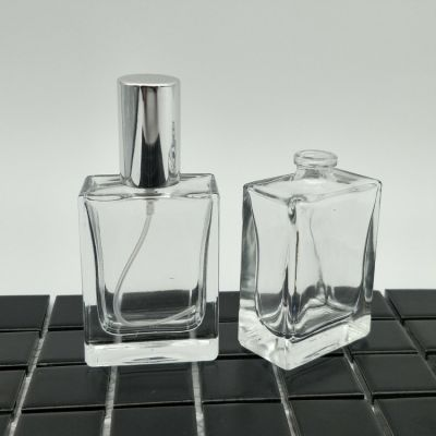 Recycle Fancy 30ml Square Perfume Glass Bottle With Pump