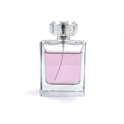 Crimp neck empty 100 ml square glass perfume bottle spray