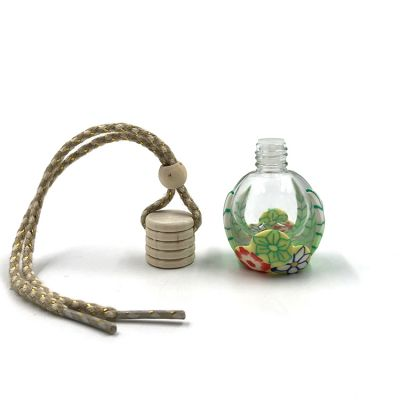 Polymer clay decoration 12ml hanging car perfume bottle with wooden cap