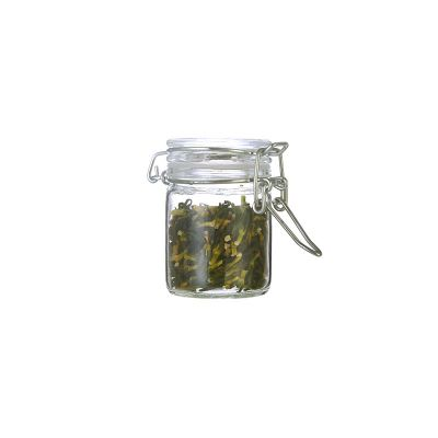2 oz 60 ml clear glass weed spice storage jars with lid