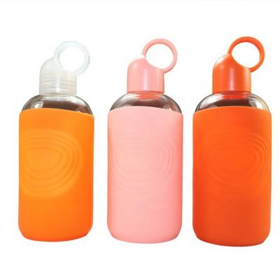 Eco Friendly bkr Glass Water Bottle with Smooth Silicone Sleeve for travel