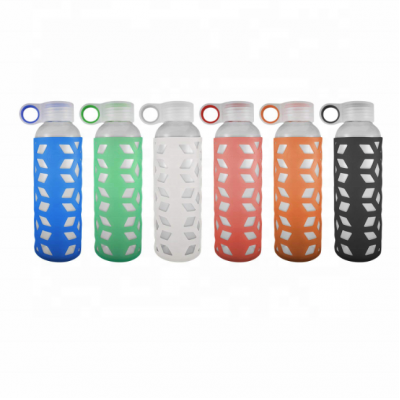 Recycled Sport Glass water bottle With Colorful Silicone Sleeve