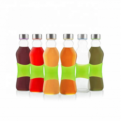 Reusable Glass Beverage Bottles wholesale with Silicone strip for Easy Grip
