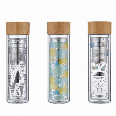 borosilicate glass tea infuser bottle, double wall glass water bottle