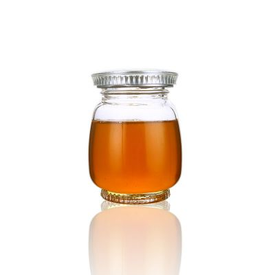 180ml 9oz small crystal oval honey jam glass jar with silver screw lid
