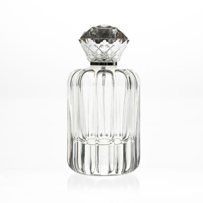 Fancy Embossed Crystal 100ml Egypt Glass Perfume Bottles Empty Cosmetic Bottles with Crown Spray