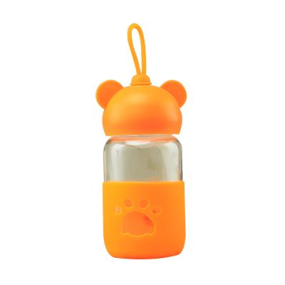 High Quality 400ml Portable a little bear child transparent lovely water tea coffee juice glass bottle with silicone sleeve