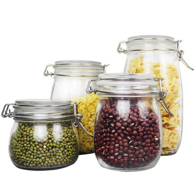 100 500 800 1500 ml Square Jar Clip Glass Spice Jar with Clamp Lid