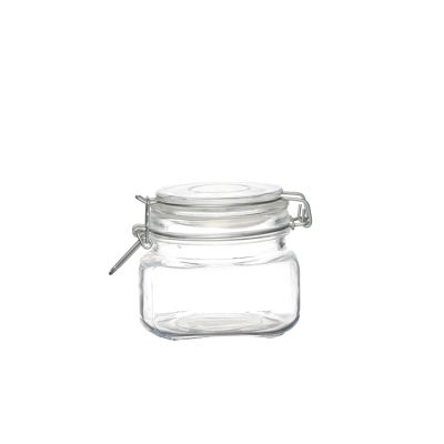 Square Bottom 500 ml 16oz Storage Bottle Flip Top Glass Jar Containers