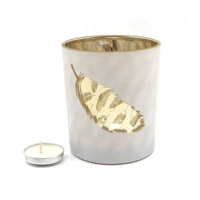 6oz White Frosted Matte leaf pattern decorative glass votive candle holder