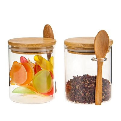 Kitchen glass jar bottles wholesale glass jar with spoon and cork