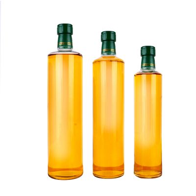 Wholesale factory manufacture kitchen empty clear round glass bottles for olive oil with cap